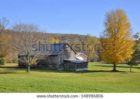 Old Historic Barn in Autumn, Bromont, Quebec, Canada - stock photo