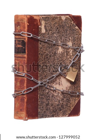 old historic book protected with padlock and chain - stock photo