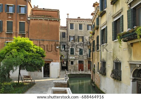 Old Historic Buildings at District of Dorsoduro, Venice, Italy, Europe, 07. September 2010