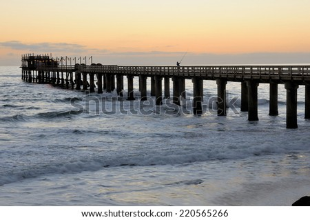 Old historic German jetty in Swakopmund Namibia  - stock photo