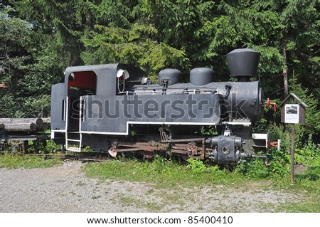 old historic locomotive in The Historical Logging Switchback Railway in Vychylovka (near Nova Bystrica, Slovakia) in Kysuce and Orava region.
