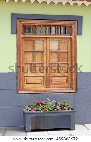 Old historic window in Puerto de la Cruz, Tenerife, Canary Islands, Spain