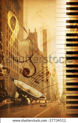 old historical background with broadway - stock photo