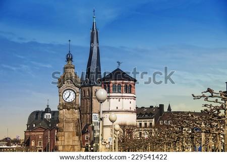 Old Historical buildings in Dusseldorf, Germany - stock photo