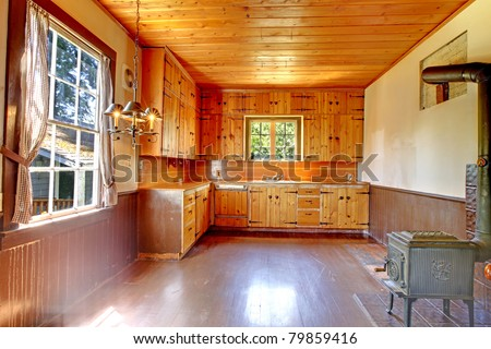 Old historical kitchen interior. Amazing home from 1856 has never been touched since then. All details remain original. Lakewood, Washington State, US.