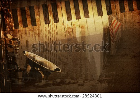 old historical new york background with broadway - stock photo