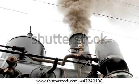 old historical steam engine train locomotive. nostalgic vintage retro background