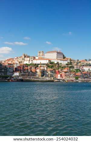 old historical town of Porto with ebiscopal palace at sunny day,  Portugal - stock photo