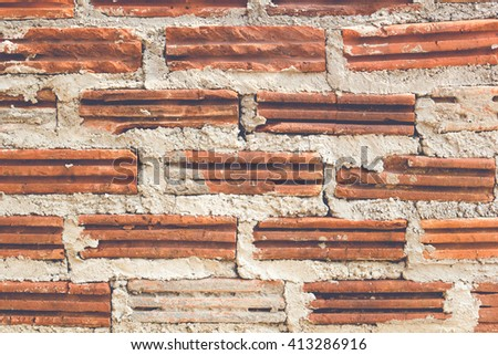 Old historical vintage brick wall background texture. - stock photo