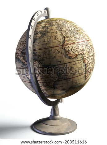 old history map on metal globe on white background - stock photo