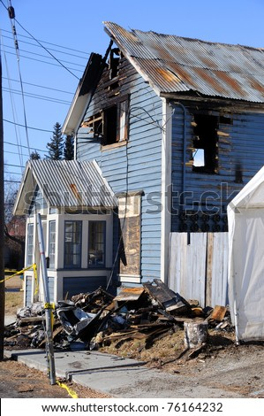 Old Home Burns Down - stock photo