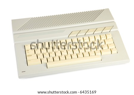 Old home computer. Isolate on white. - stock photo