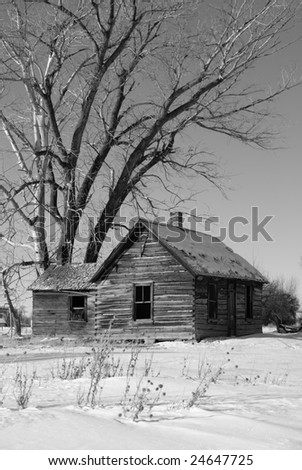 Old Home in the winter in black and white