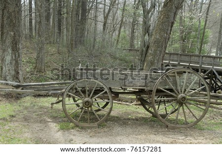 old horse drawn wagon early spring