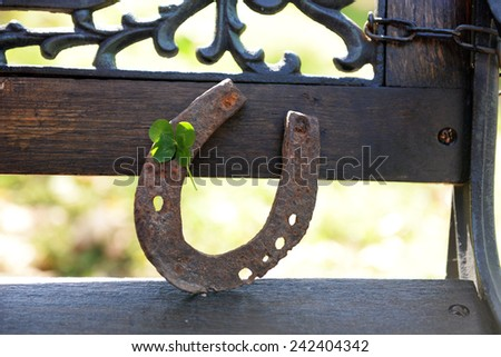 Old horse shoe with clover leaf, outdoors - stock photo