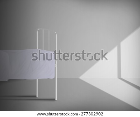 Old hospital room with a bed in style 40-60 years - stock photo