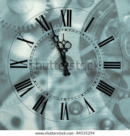 Old hours with figured arrows on mechanism blur background.Arrows and the Roman figures - stock photo