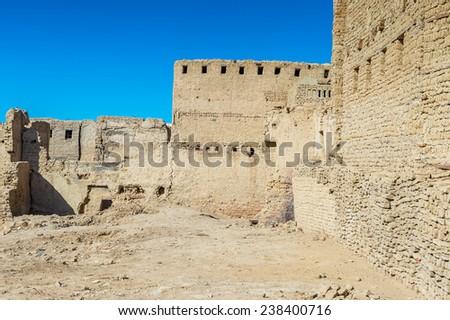 Old House in Al Qasr, old village in Dakhla Desert, Egypt - stock photo