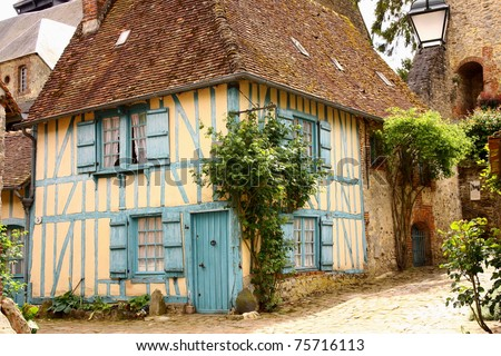 old house in medieval village - stock photo