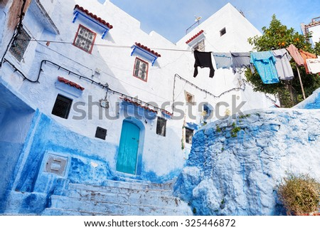 Old house in medina, Chefchaouen, Morocco - stock photo
