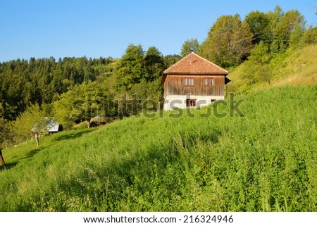 old house in rural area of Serbia     - stock photo