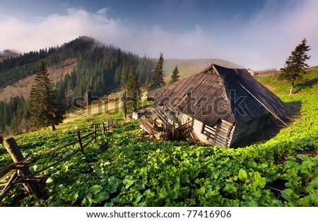 Old house in the mountains in spring - stock photo