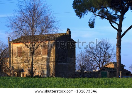 Old house in the park of the Aqueducts, Rome - Italy - stock photo