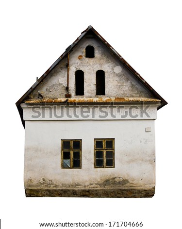 Old house isolated on white background - stock photo