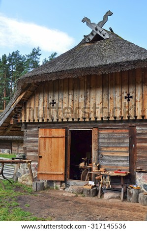 Old house. Open-air ethnography museum near Riga, Latvia.  - stock photo