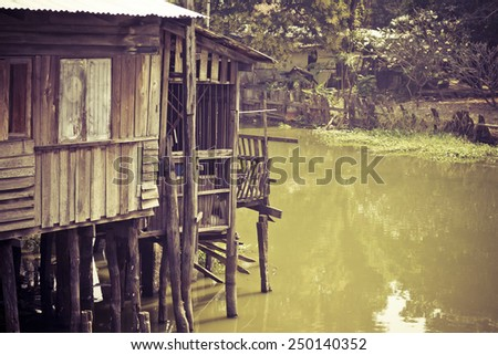 old house vintage thailand - stock photo