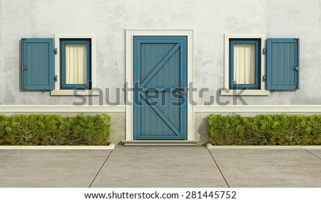 Old house with blue window and front door - 3D Rendering - stock photo