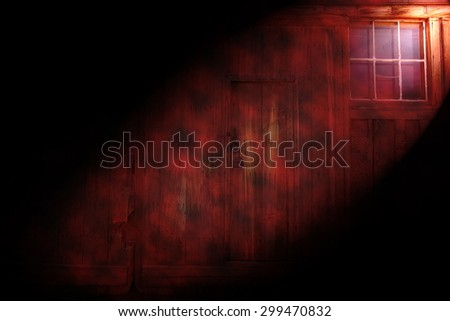 old house with light effects - stock photo
