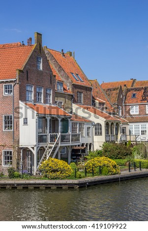 Old houses around the harbor in Enkhuizen, Holland - stock photo