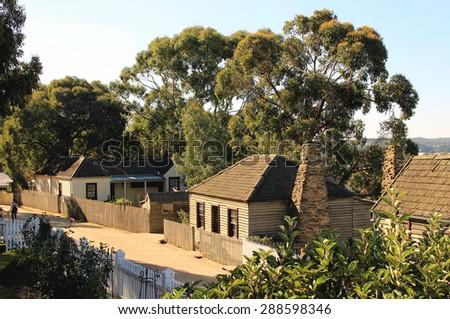 Old houses at the street in Sovereign Hill, Ballarat, Victoria, Australia - stock photo