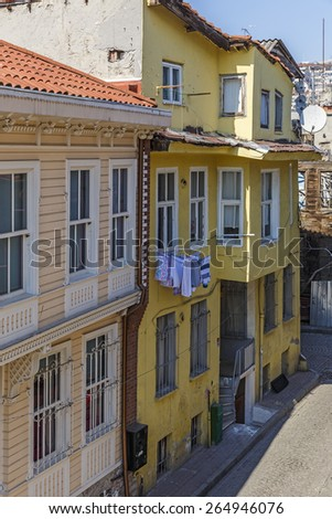 Old houses in a street in Istanbul - stock photo