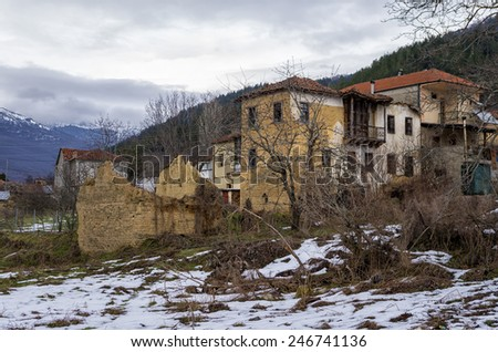 Old houses in Antartiko village, Florina, Greece - stock photo