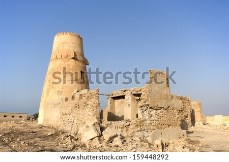 Old houses in Jazirat Al Hamra Ras al Khaimah, United Arab Emirates - stock photo