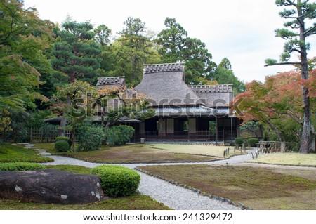 old houses inside the garden of Nara, Japan - stock photo