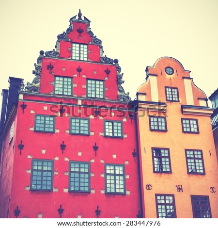 Old houses on Stortorget square in Stockholm. Instagram style filtred image  - stock photo