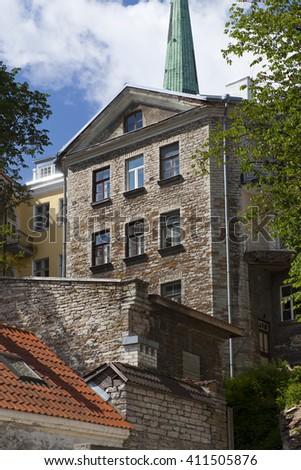 Old houses on the Old city. Tallinn. Estonia - stock photo