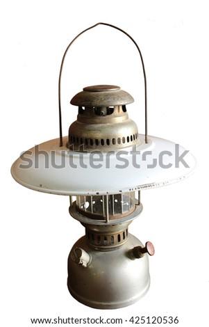 old hurricane lamp isolate on white background - stock photo
