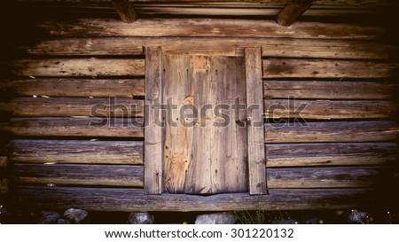 Old hut rustic wooden door  - stock photo