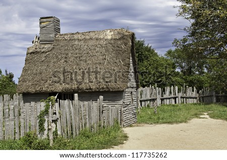 Old hut used by the first immigrants coming with the Mayflower in 17th century - stock photo