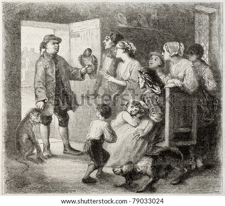 Old illustration depicting American uncle coming back with curiosities from the new continent. Created by Johannot, published on Magasin Pittoresque, Paris, 1850 - stock photo