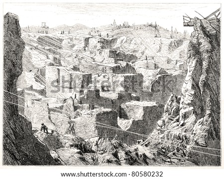 """Old illustration depicting the diamond diggings in Kimberley, South Africa, drawn by unidentified artist in Emil Holub's """"Seven Years in South Africa"""", published in Vienna, 1881 - stock photo"""