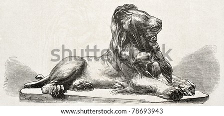 Old illustration of a bronze lion statue. Created by Jacquemart,  published on L'Illustration Journal Universel, Paris, 1857