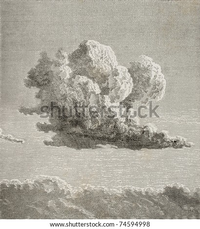 Old illustration of a cloud. By unknown author, published on L'Eau, by G. Tissandier, Hachette, Paris, 1873 - stock photo