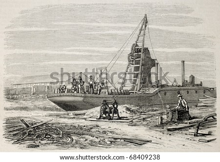 Old illustration of a dredger in Port Said, working in Suez canal excavation. Original, from drawing of Blanchard and Anastasi, was published on L'Illustration, Journal Universel, Paris, 1860 - stock photo