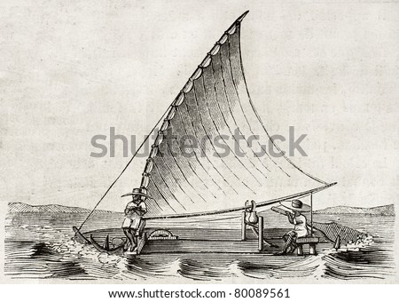 Old illustration of a Jangada, traditional fishing boat used in northern region of Brazil. By unidentified author, published on Magasin Pittoresque, Paris, 1850 - stock photo