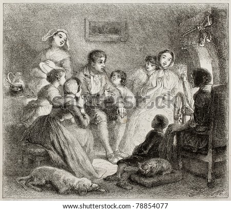 Old illustration of a man telling a story to boys and girls. Created by Johannot, published on Magasin Pittoresque, Paris, 1850 - stock photo